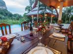 Table set for private chef service at Villa Saifon.