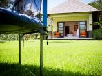 The Arsana Estate - Trampoline and grass area outside kids room