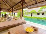 lounge looking towards lap pool sanur surf camp