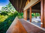 Front deck and balcony to the jungle villa - offering impressive panoramic and ocean views