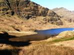 Lochan in hills behind Rhumhor