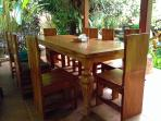 Dining area in the main family compound that sits up to ten guests