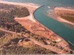 Arial view of Nehalem Bay.