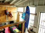 Equipment Room with Surf Boards, Boogie Boards, Beach Chairs, Beach Toys, Grill