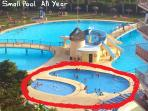 Main pool open peak times June to October , small pools open all year ( in red )