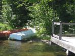 12 foot tin boat, canoe and paddle boat included in rental price