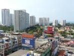 View from balcony on Jomtien-Beach, ending at the right side