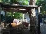 Pergola and picnic table