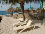 Sandy Beach, Palm Trees, Palapas