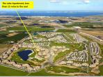 Ariel View of our location on Mar Menor Resort & Golf Course and shows proximity to the Sea.