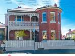 FRONT OF HOUSE - MIDWAY B/W NORTH HOBART RESTAURANTS AND THE CITY/SALAMANCA