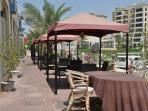 Outside dining along the Marina, includes Italian, Lebanese, Johnny Rockets, Marina etc