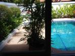 View through window of guestroom 404/69 on private swimming-pool and garden at the rear