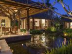 Villa Arika Living & Dining at Dusk