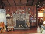 Beautiful fireplace with wood stove