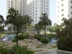 Pool resort with jogging track