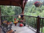 Beautiful Fall decorations on the front porch