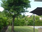 devant la maison salon de jardin, relax sous le chêne,