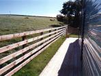 decking full length caravan and view over fields