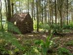 The wendy house in the woodland - for little visitors!