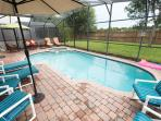 The Pool, Spa and Patio Sets in the backyard.