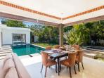 Dining facing to the pool