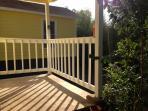 Deck overlooking the backyard.