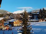 vue sur mont blanc de la terrasse