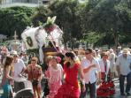 The Romeria Celebrations held in September. Display of Spanish horsemen and wagons.