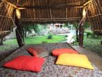 outdoor pavilion swing bed