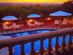 Sun set from the balcony overlooking the pool and valley