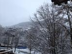 snowy mountain views from balcony