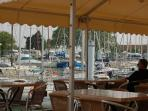 One of the many restaurants 5 mins away in the harming port of Mortagne