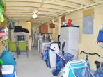The common area room has 2 washers & dryers + storage for bikes & beach gear