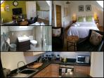 A snap shot of the accommodation.  Kitchen on ground level with stairs up to bed and bathroom.