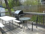 Gas Grill and picnic table dining