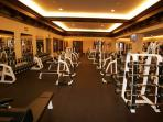 A fully furnished fitness center is available