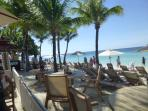 West bay beach.  White sand, clear blue water and tropical island feel