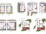 Drawings of the room layouts, 9 rooms, 3 with 2 king beds and 6 with 1 king bed