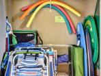 Beach Closet - complete with towels, chairs, boogie boards, floats, beach wagon and cooler plus more