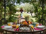 Breakfast in the Gazebo? Moroccan breakfast with Fresh orange juice, fruit, pancakes, coffee and tea
