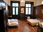 You will find one big room with double bed and convertible sofa, kitchenette, bathroom, cloakroom.