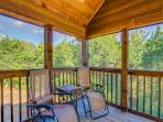 Screened in Patio overlooking forest, Roark creek behind lodge.