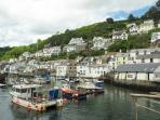 Nearby Polperro, old fishing port. Visit the 'Blue Peter' pub on the harbour.