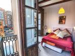 South aspects. Historic city adjacent to barrio - just 4 min walk. Tall French windows.
