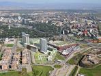 Vista aerea dall'Europarco - il pallino rosso, a destra, evidenzia la posizione dell'appartamento