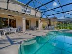 Perfect south-facing pool and spa -Plenty of seating and loungers