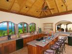The Peace & Plenty chef's kitchen with a spectacular Caribbean view