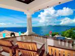 The Crow's Nest atop Las Brisas Caribe enjoys dramatic Caribbean views of St. Thomas to the west.