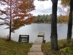 The dock looking to lake in Autumn